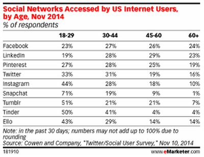 emarketer social network audience by age stats