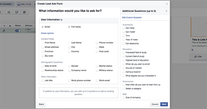 Facebook Lead Ads Form